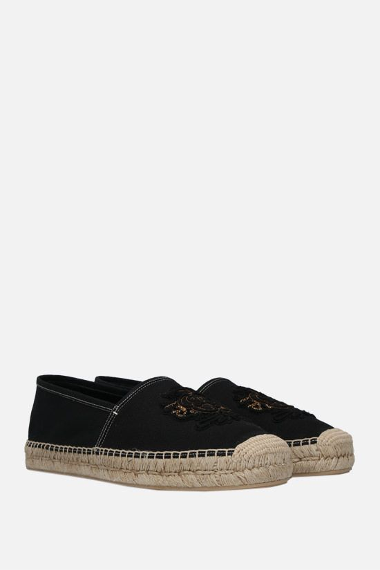 DOLCE & GABBANA: coat of arms patch canvas espadrilles Color Black_2