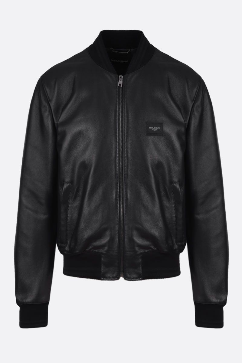 DOLCE & GABBANA: logo-detailed nappa bomber jacket Color Black_1