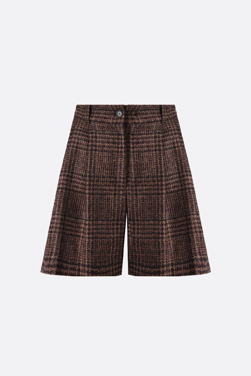 DOLCE & GABBANA: houndstooth-motif wool blend darted shorts Color Multicolor_1