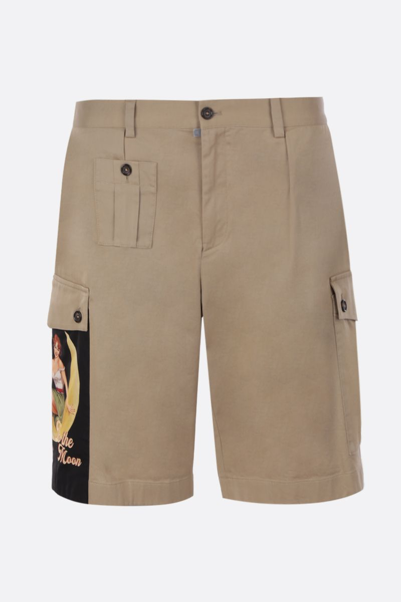 DOLCE & GABBANA: Pin-Up print cotton cargo shorts Color Neutral_1