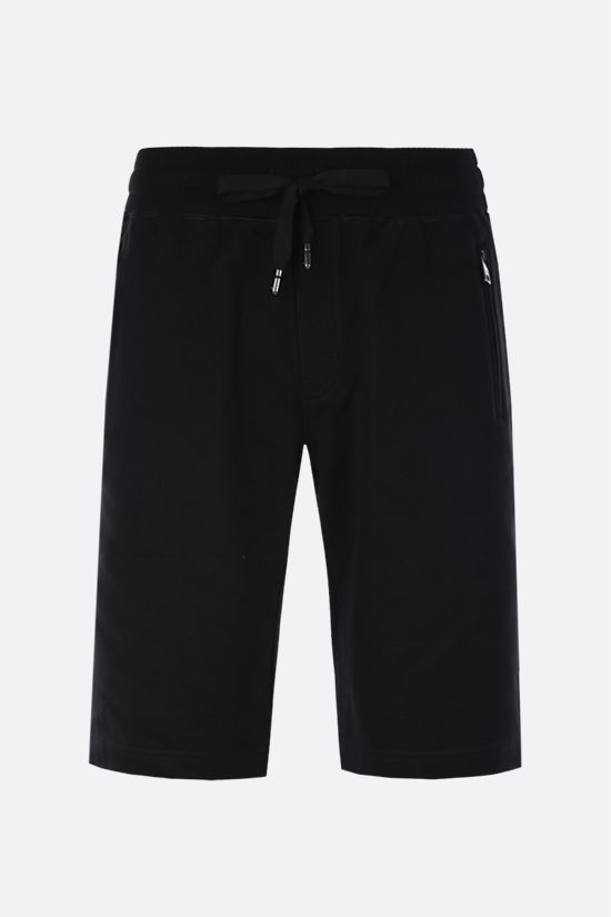 DOLCE & GABBANA: logo plaque-detailed cotton shorts Color Black_1