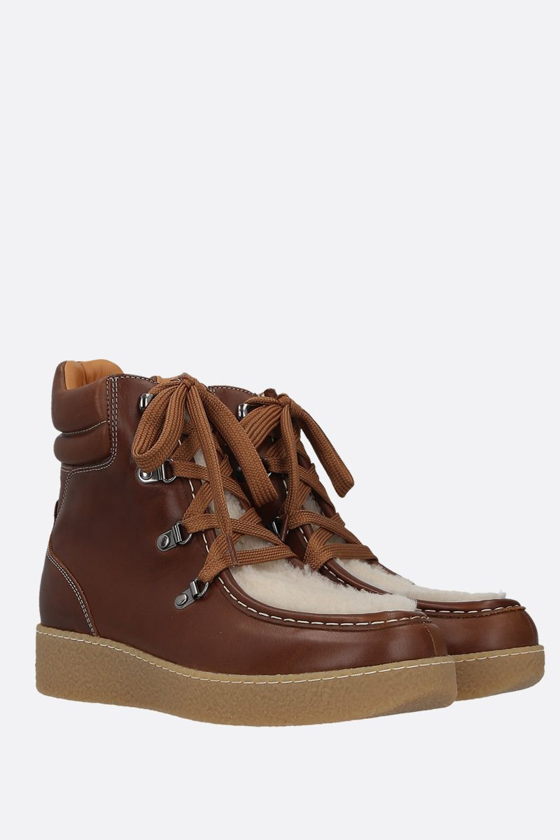 ISABEL MARANT: Alpica smooth leather and fur hiking boots Color Brown_2