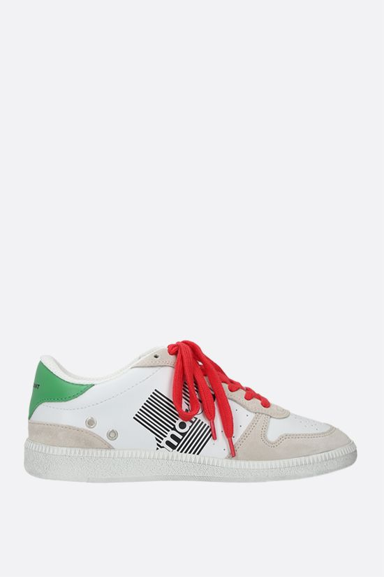 ISABEL MARANT: Bulian smooth leather and suede sneakers Color Green_1
