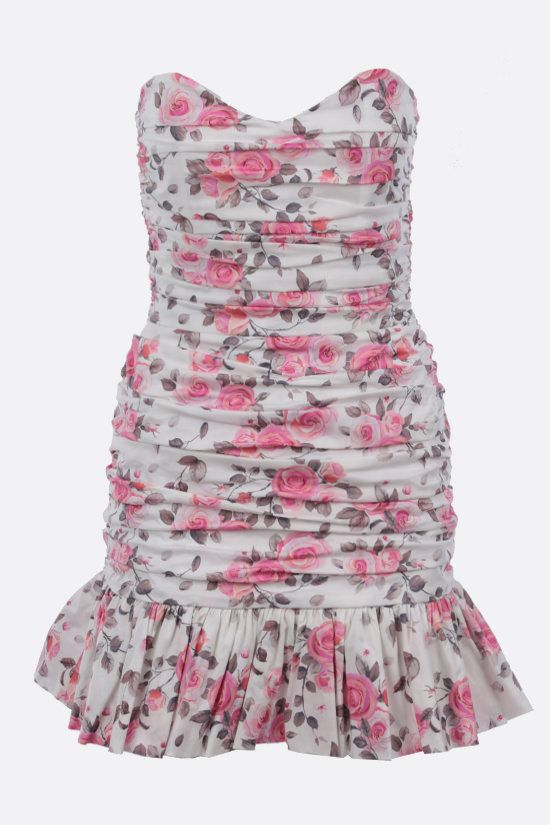 GIUSEPPE DI MORABITO: floral print stretch cotton busier minidress Color Pink_1