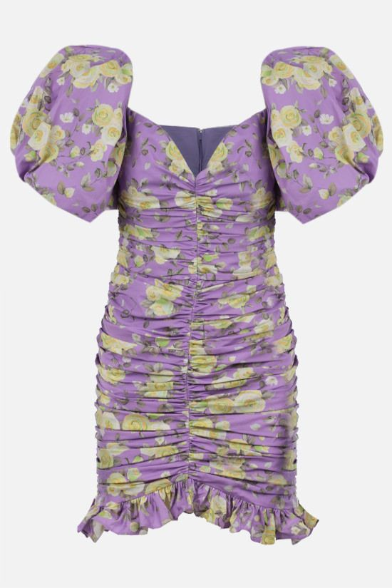 GIUSEPPE DI MORABITO: floral print stretch cotton draped minidress Color Purple_1
