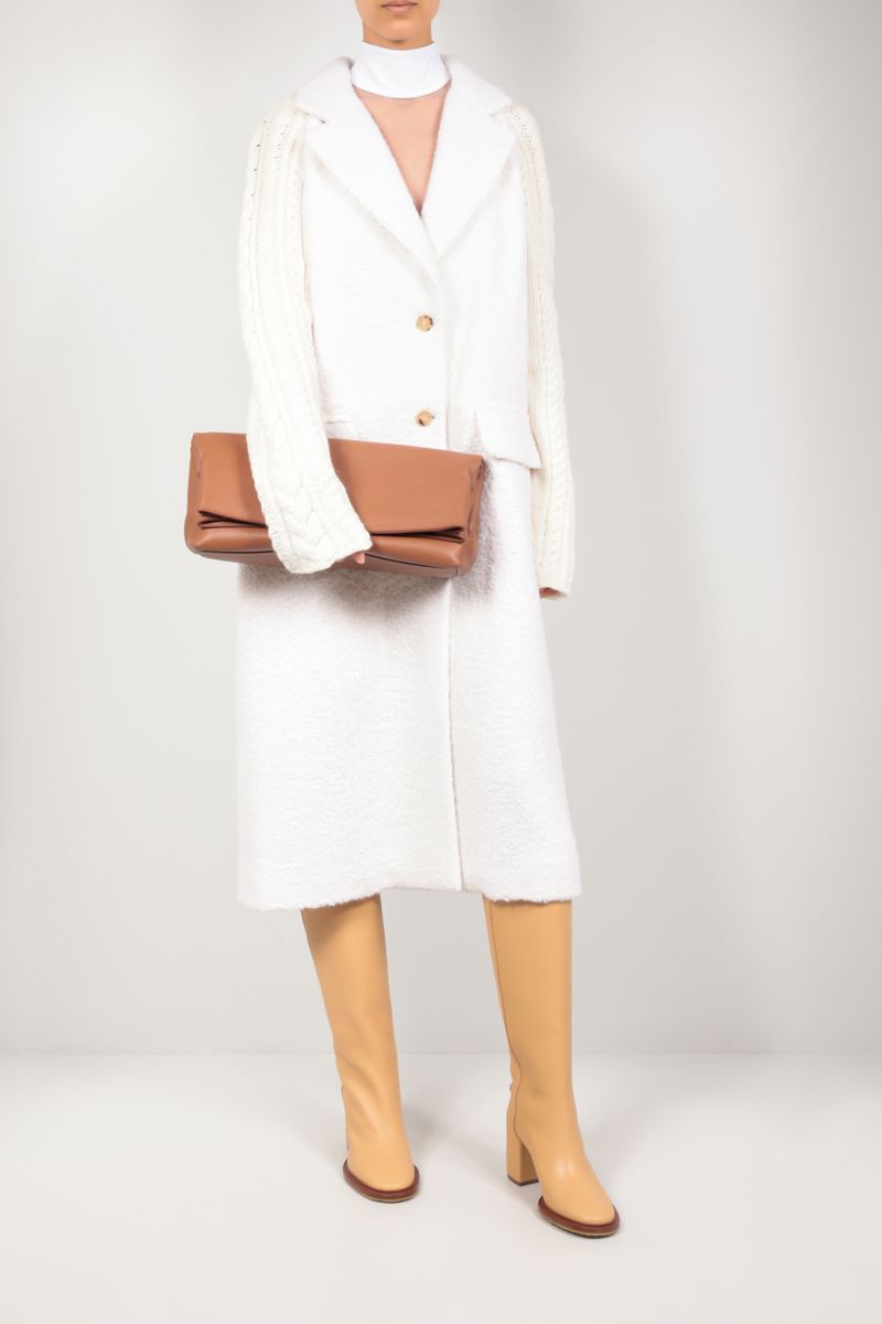GABRIELA HEARST: Phoebe grainy leather clutch Color Brown_2