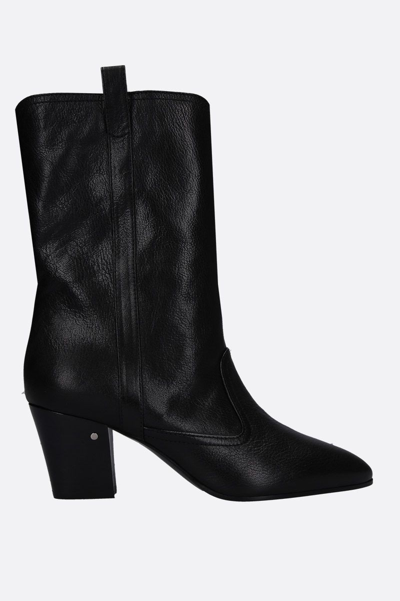 LAURENCE DACADE: Simona western boots in vintage leather Color Black_1