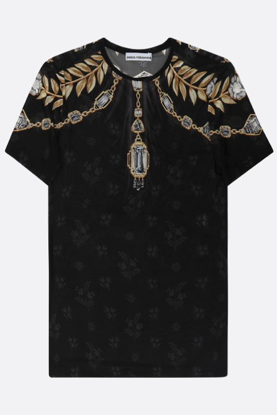 PACO RABANNE: t-shirt Jewel in jersey stretch Colore Nero_1