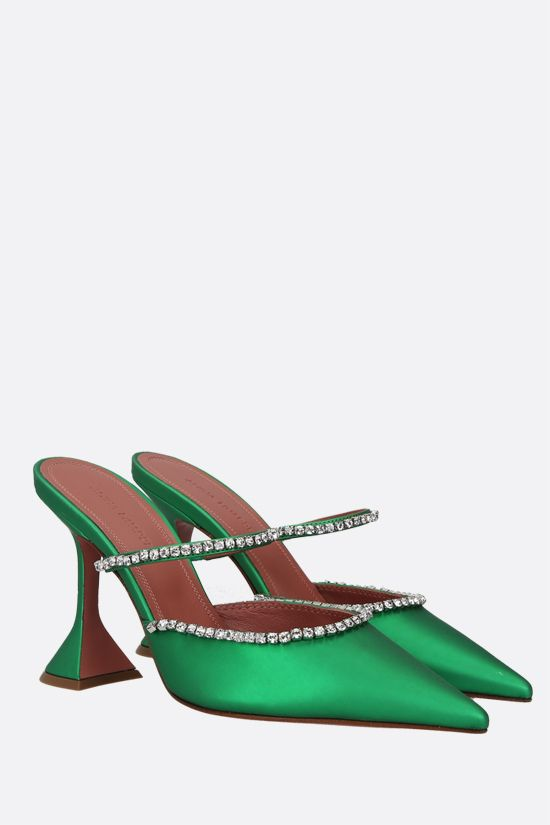 AMINA MUADDI: Gilda matte faux leather mules Color Green_2