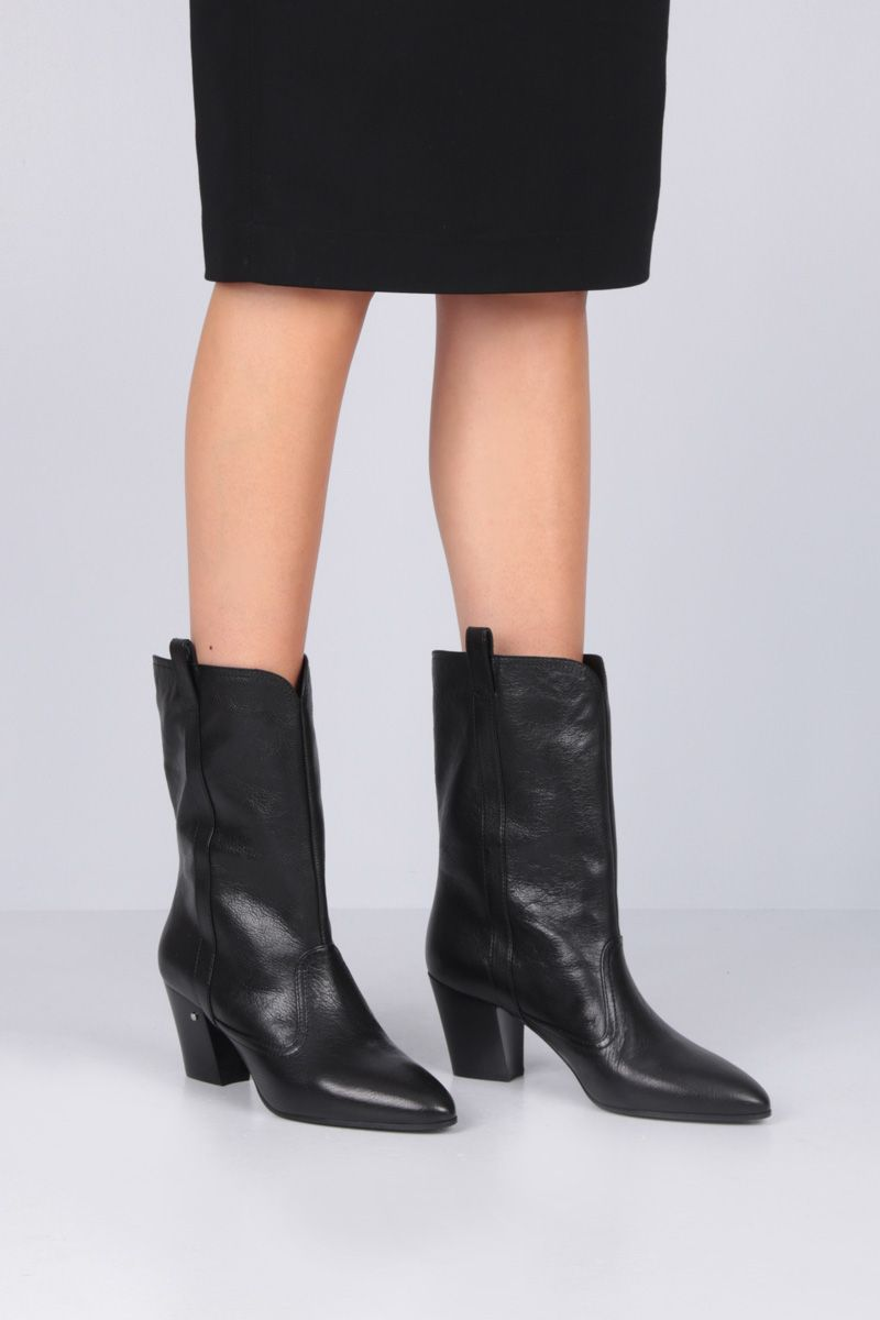 LAURENCE DACADE: Simona western boots in vintage leather Color Black_2