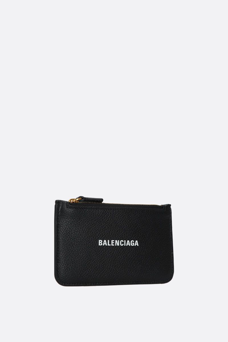 BALENCIAGA: Cash zipped card holder in grainy leather Color White_2