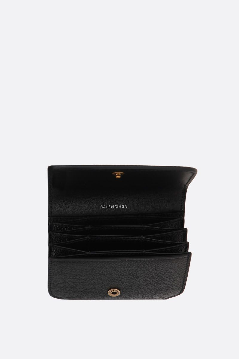 BALENCIAGA: porta carte Cash Accord in pelle martellata Colore Nero_2