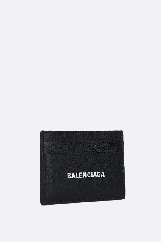 BALENCIAGA: Cash card case in grainy leather Color Black_2