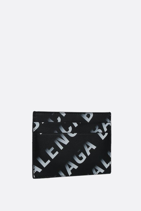 BALENCIAGA: Grad Logo print smooth leather card case Color Black_2