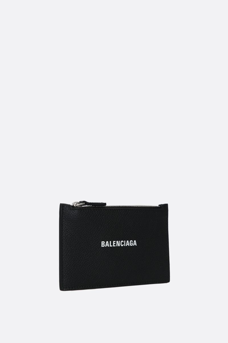 BALENCIAGA: Cash grainy leather zipped card holder Color Black_2