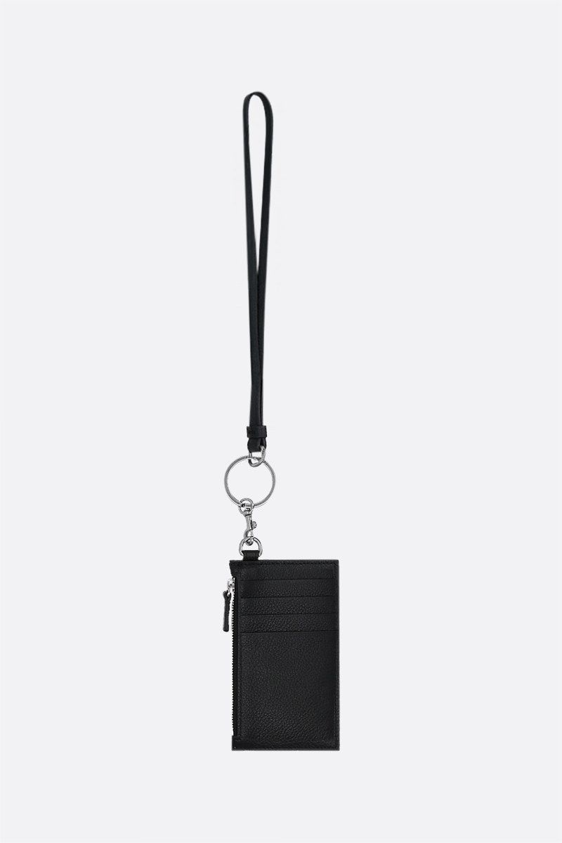 BALENCIAGA: Cash grainy leather card case Color Black_2