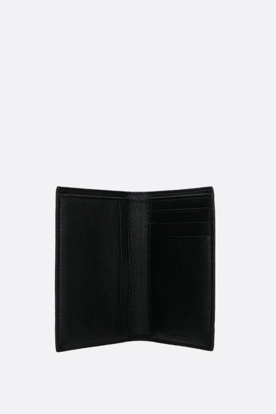 BALENCIAGA: Cash grainy leather vertical wallet Color Black_2