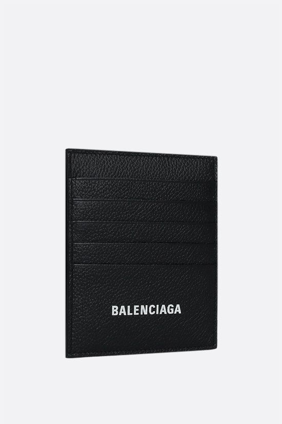 BALENCIAGA: Cash grainy leather vertical card case Color Black_2