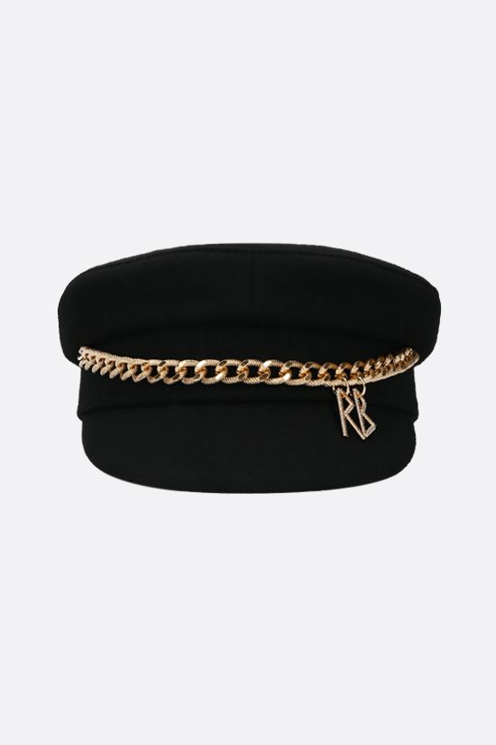 RUSLAN BAGINSKIY: chain-detailed wool felt baker boy cap Color Black_1