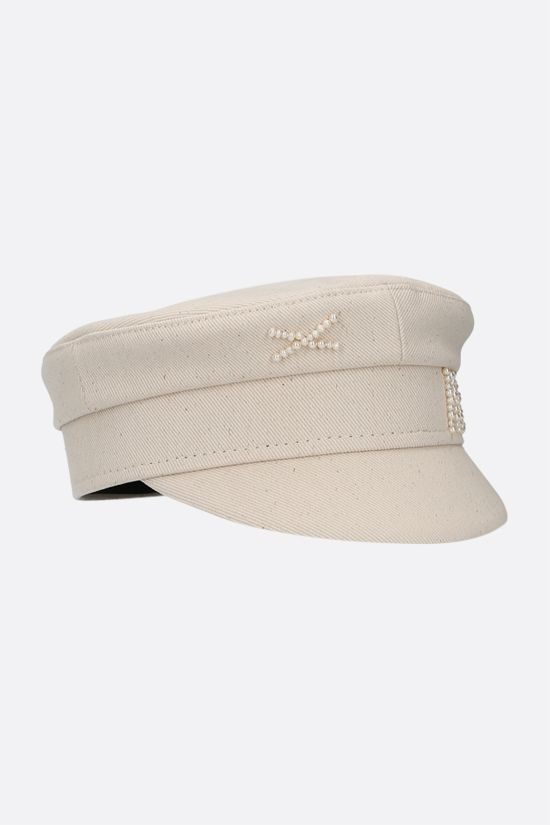 RUSLAN BAGINSKIY: pearl-detailed canvas baker boy cap Color Neutral_2