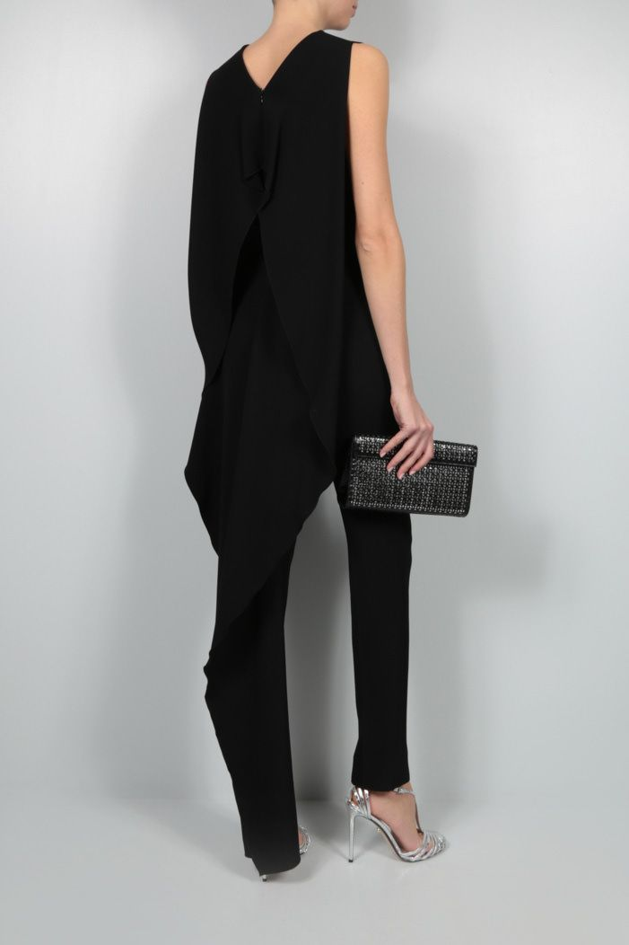 AGNONA: wavy panel crepe jumpsuit Color Black_2