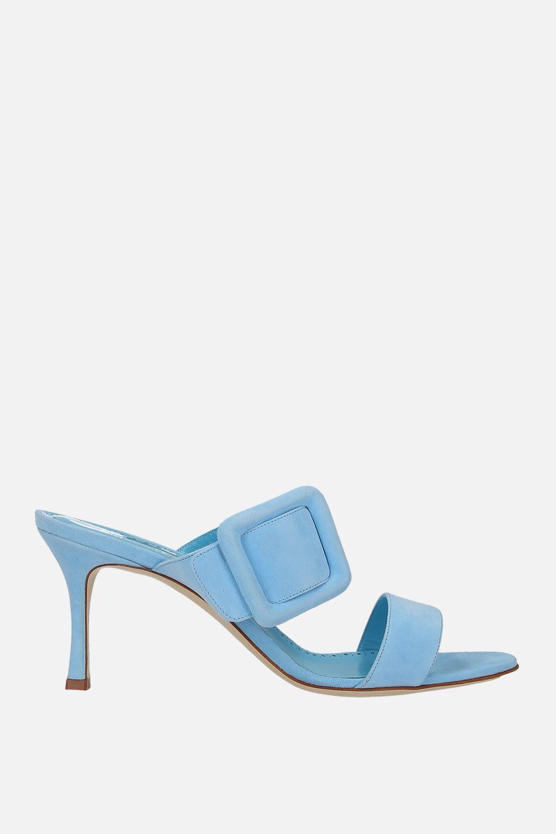 MANOLO BLAHNIK: sandalo mule Gable in suede Colore Blu_1