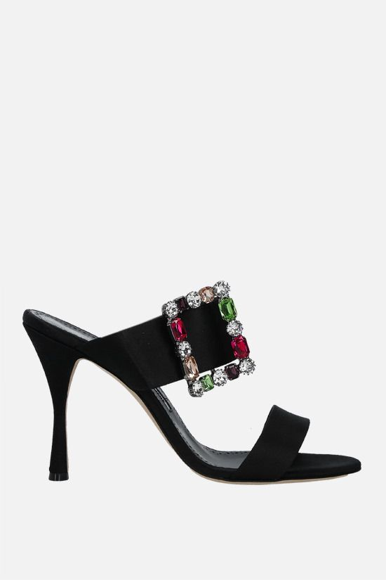 MANOLO BLAHNIK: Verda satin sandals Color Black_1