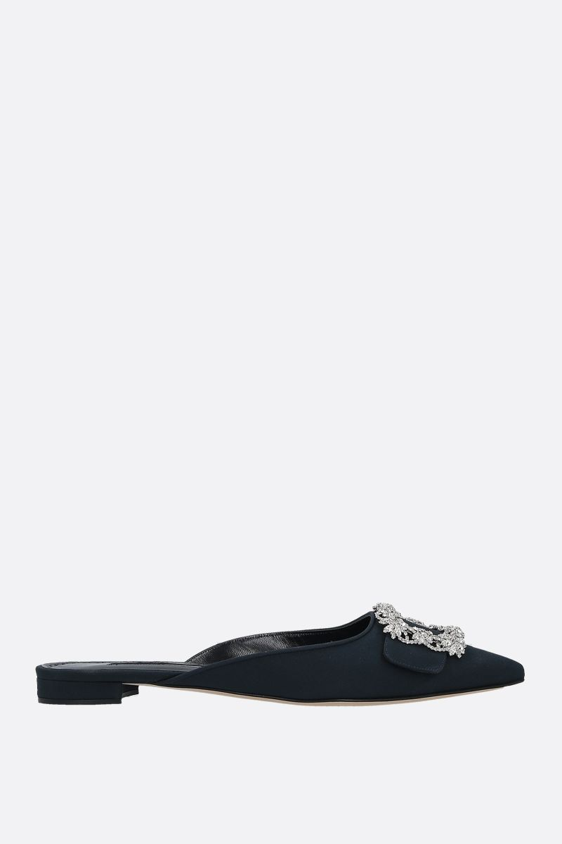 MANOLO BLAHNIK: Maysale Jewel crepe de chine slippers Color Blue_1
