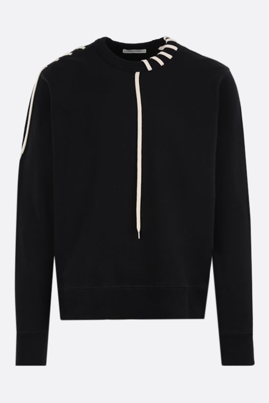 CRAIG GREEN: lace-embellished cotton sweatshirt Color Black_1