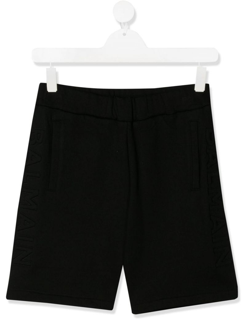 BALMAIN KIDS: cotton shorts Color Black_1