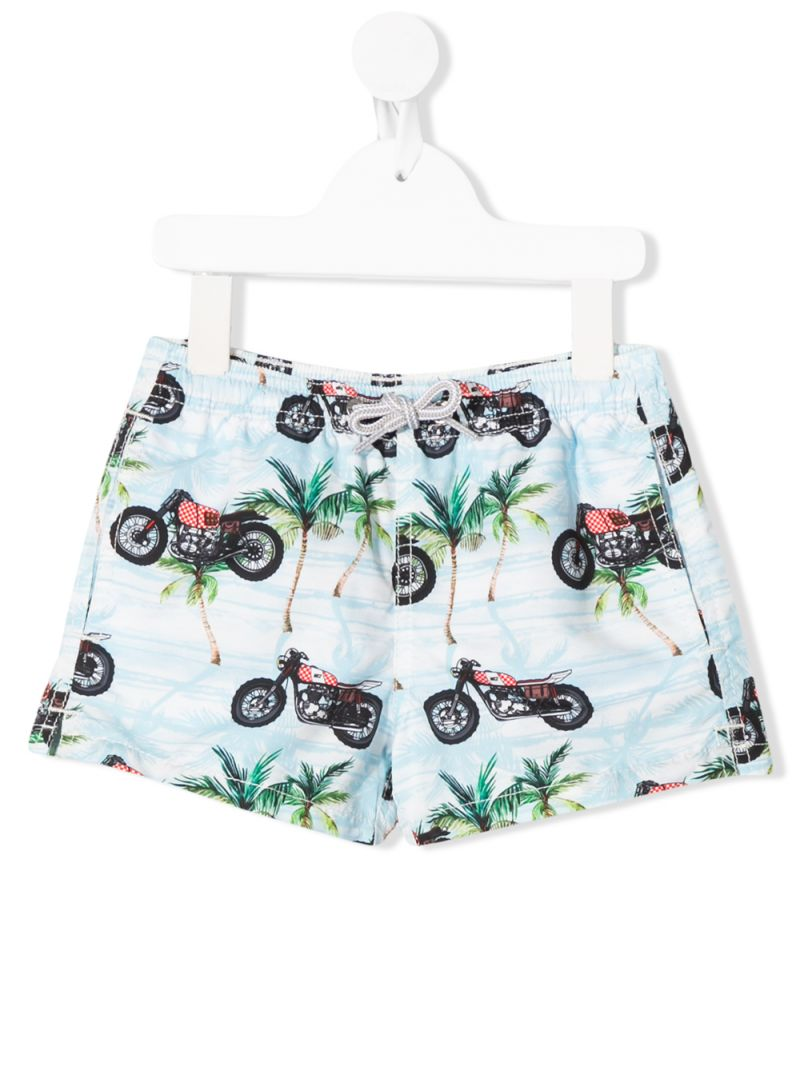 MC2 Saint Barth: graphic print nylon swim shorts Color Blue_1