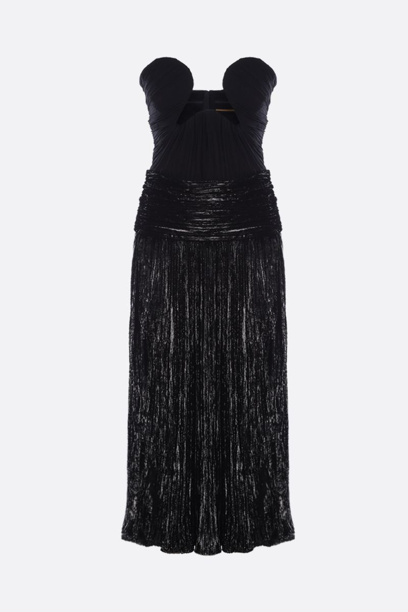 SAINT LAURENT: lurex velvet bustier dress Color Black_1