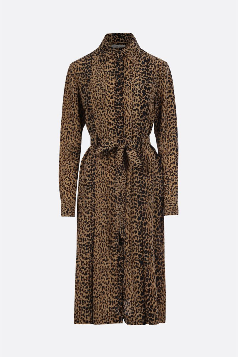 SAINT LAURENT: abito chemisier in seta stampa leopardo Colore Animalier_1