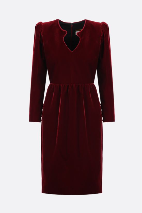 SAINT LAURENT: soft velvet midi dress Color Red_1