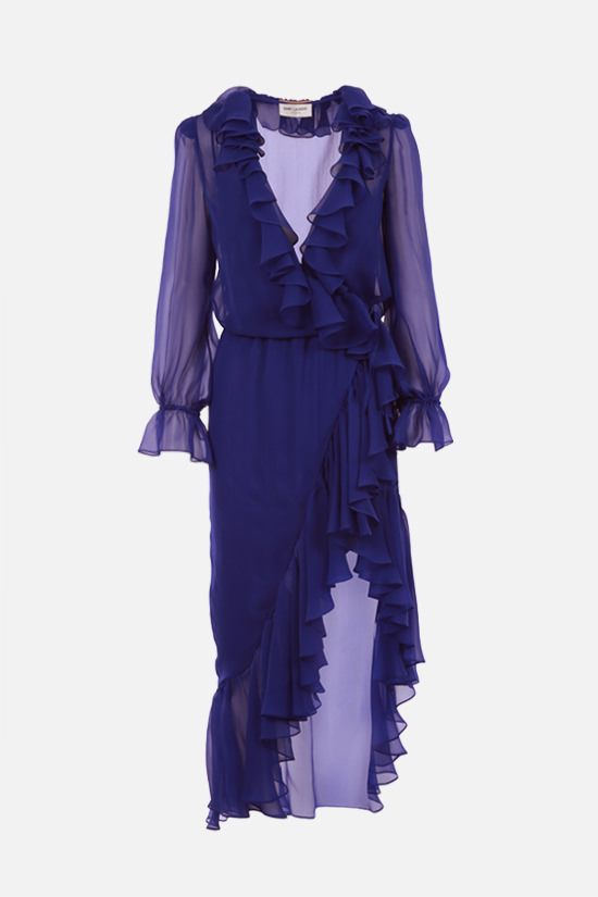 SAINT LAURENT: ruche-detailed silk wrap dress Color Blue_1