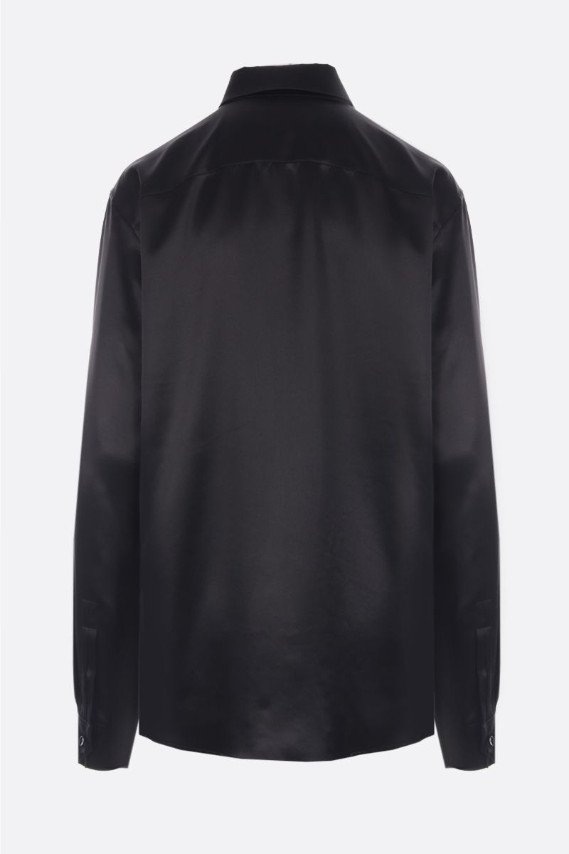 SAINT LAURENT: camicia in raso di seta Colore Nero_2
