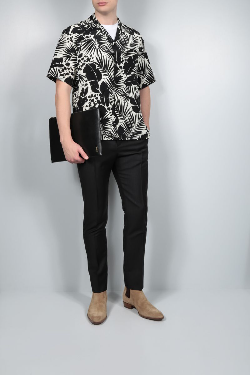 SAINT LAURENT: tropical print crepe de chine bowling shirt Color Black_2