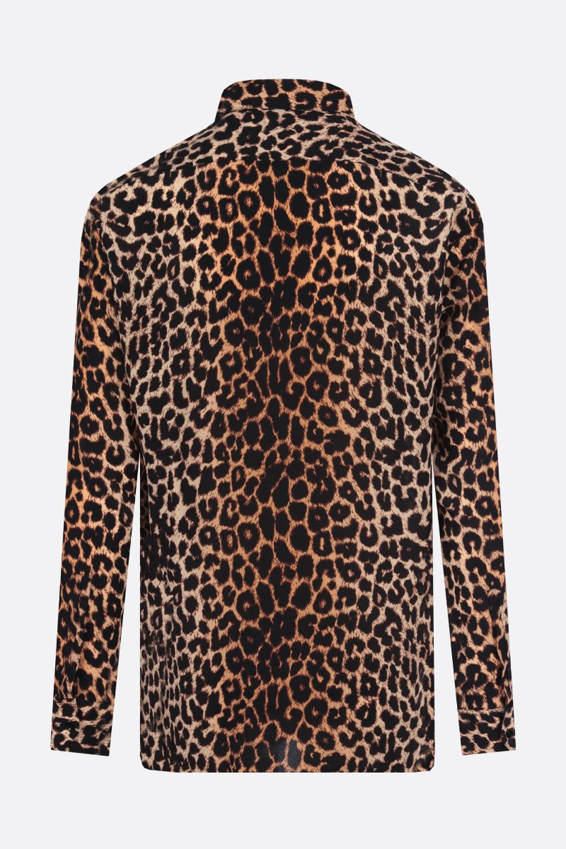 SAINT LAURENT: camicia in seta stampa leopardo Colore Animalier_2