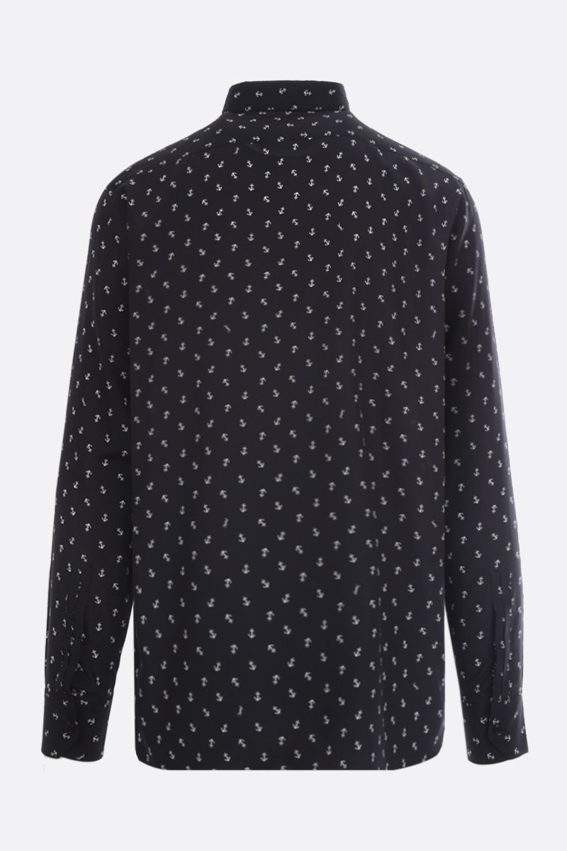 SAINT LAURENT: Anchor print silk shirt Color Black_2