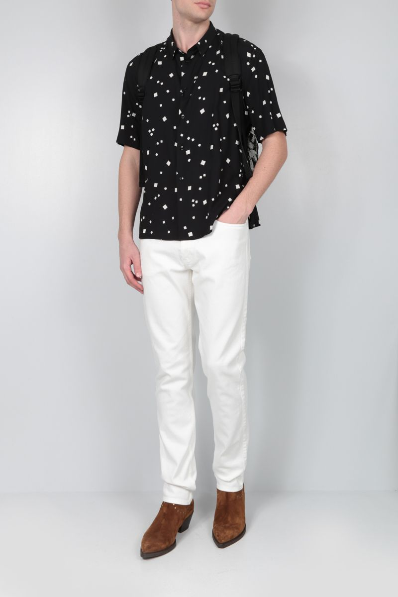 SAINT LAURENT: printed viscose short-sleeved shirt Color White_2