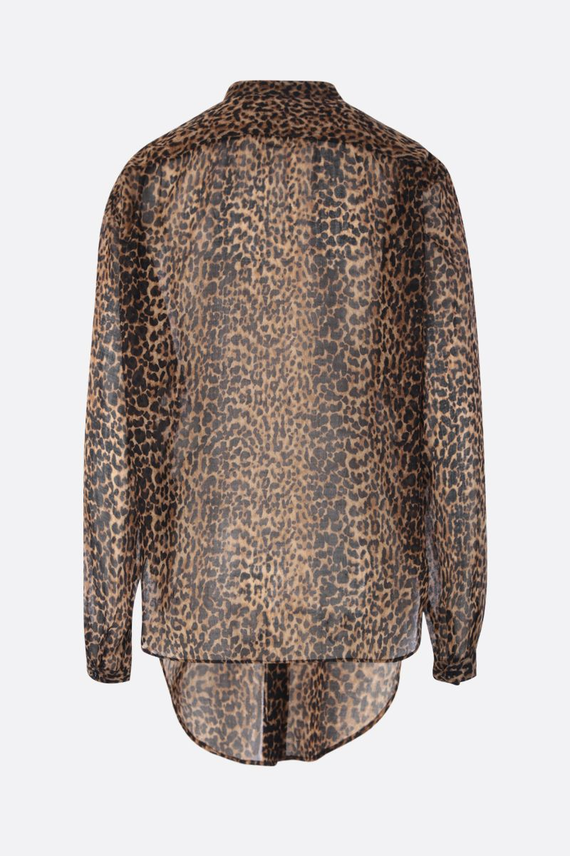 SAINT LAURENT: leopard print wool oversized shirt Color Animalier_2