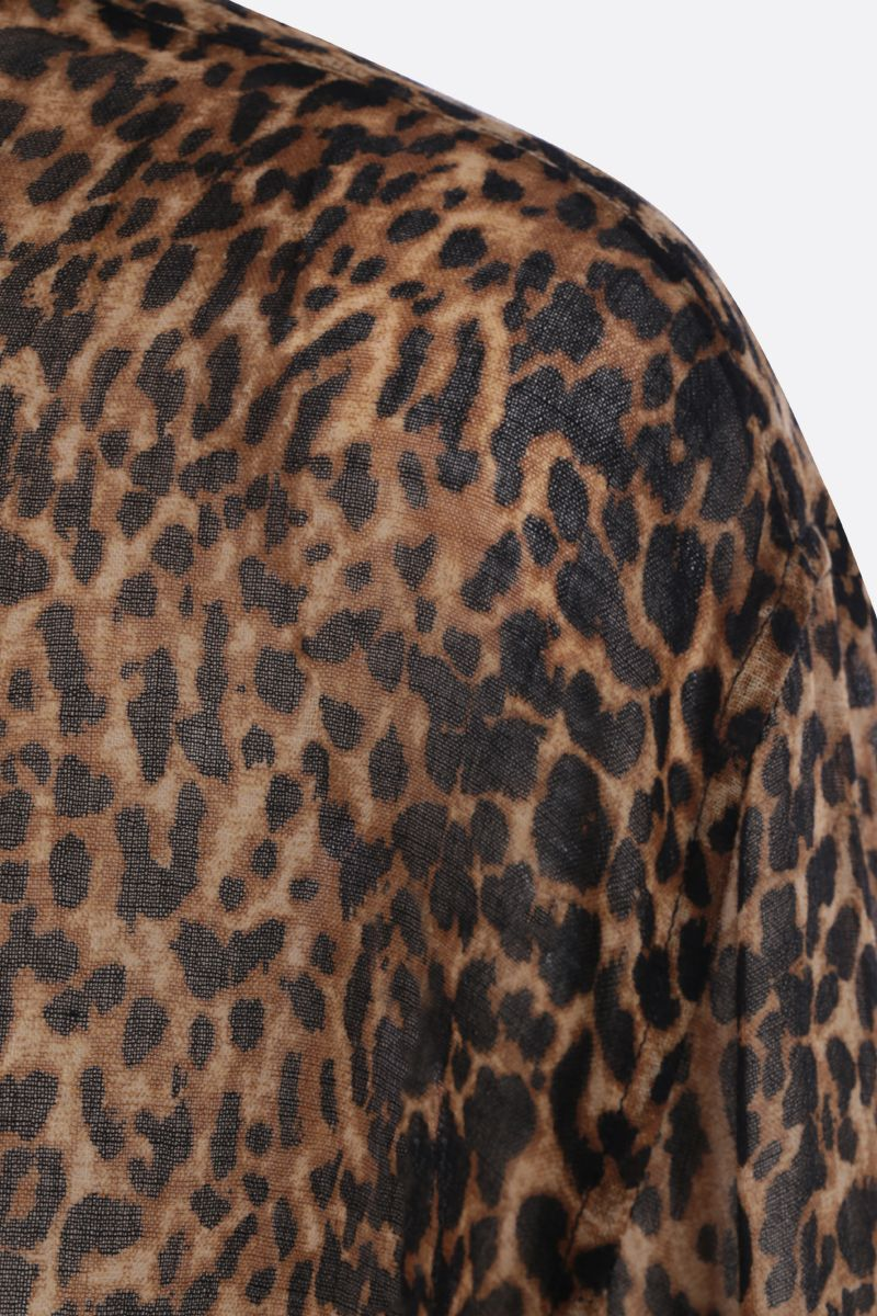 SAINT LAURENT: leopard print wool oversized shirt Color Animalier_4