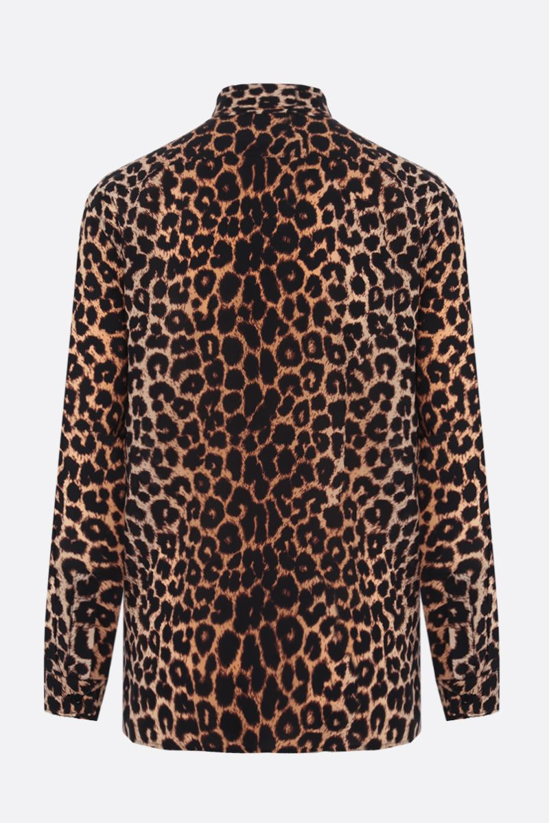 SAINT LAURENT: leopard print crepe de chine shirt Color Animalier_2