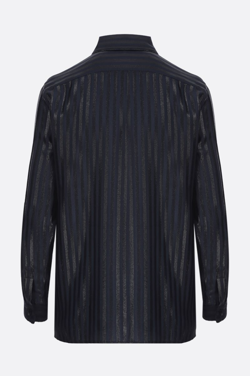 SAINT LAURENT: camicia in seta e lurex a righe Colore Blu_2