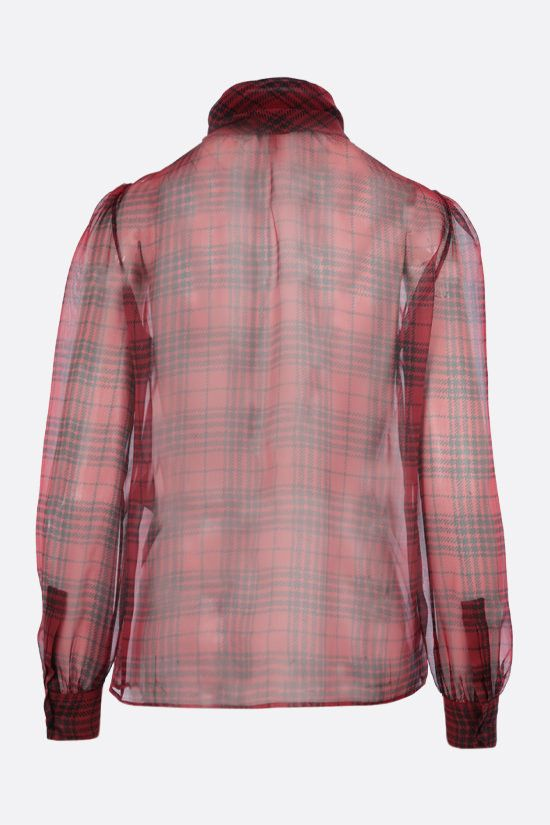 SAINT LAURENT: prince of wales print silk shirt Color Red_2