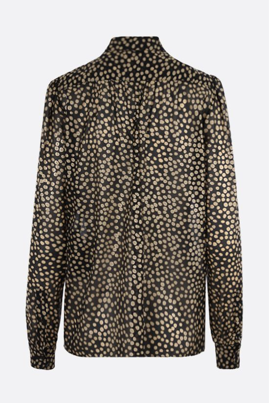 SAINT LAURENT: lavallière-detailed polka-dot print silk shirt Color Black_2