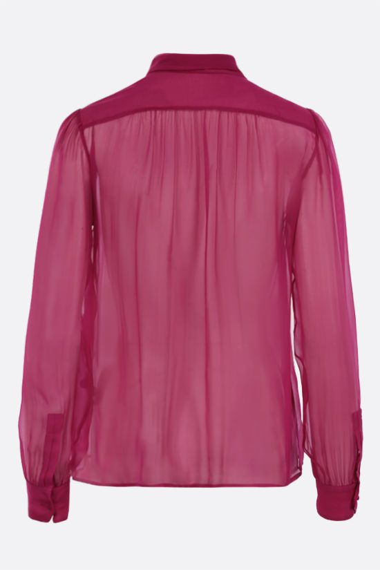 SAINT LAURENT: lavallière-detailed silk chiffon shirt Color Purple_2