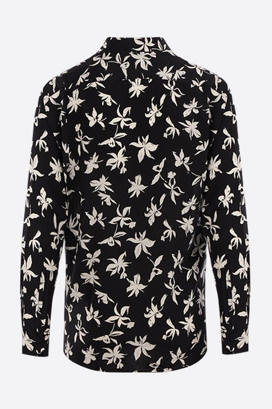SAINT LAURENT: camicia in crepe de chine stampa orchidea Colore Nero_2