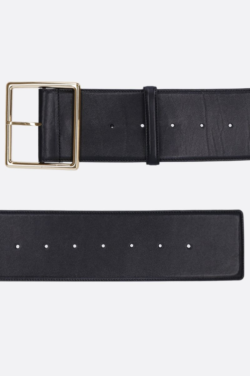 SAINT LAURENT: smooth leeather belt Color Black_2