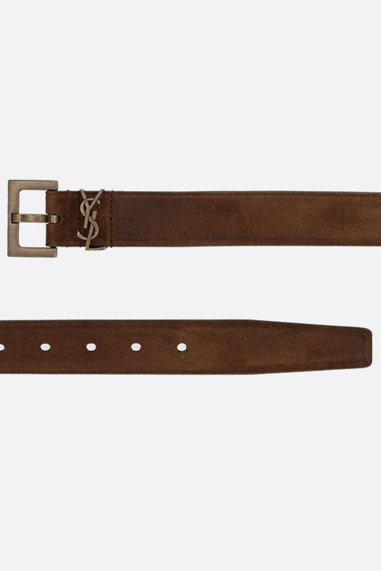 SAINT LAURENT: Monogram velvet suede belt Color Brown_2